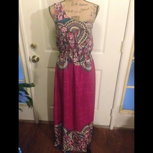 EUC Beautiful One Shoulder Split Skirt Maxi Dress